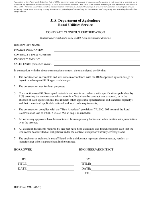 Form 756 Download Printable PDF, Contract Closeout