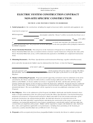 """RUS Form 790 """"Electric System Construction Contract - Non-site Specific Construction"""""""