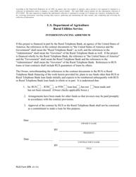 "RUS Form 375 ""Interim Financing Addendum"""