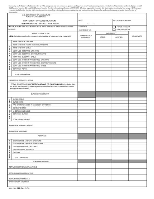 RUS Form 527  Printable Pdf