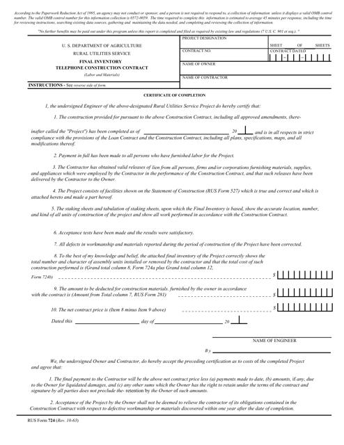 RUS Form 724  Printable Pdf