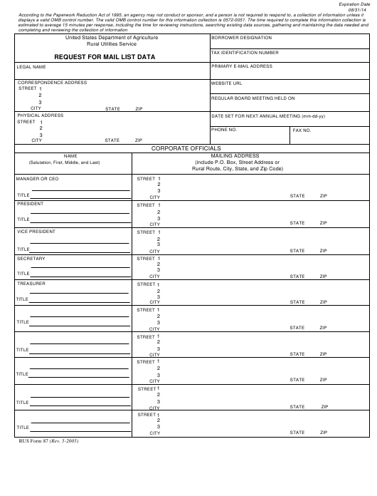 RUS Form 87 Fillable Pdf