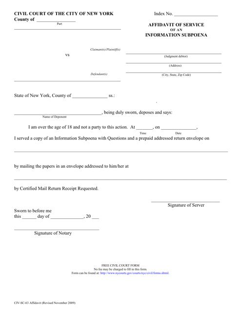 Form CIV-SC-63  Printable Pdf
