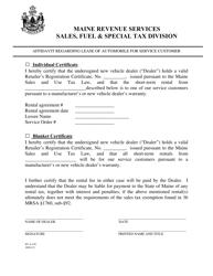 "Form ST-A-101 ""Affidavit Regarding Lease of Automobile for Service Customer"" - Maine"