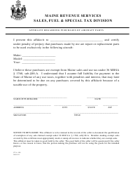 """Form ST-A-100 """"Affidavit Regarding Purchases of Aircraft Parts"""" - Maine"""