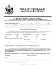 "Form ST-A-111 ""Interstate Commerce Exemption Affidavit - Retail Sale"" - Maine"