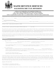 "Form ST-A-106 ""Affidavit of Exemption for Immediate Removal"" - Maine"