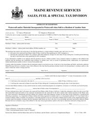 "Form ST-A-113 ""Affidavit of Exemption - Watercraft"" - Maine"