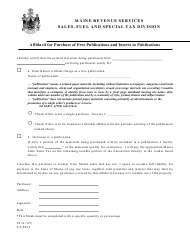 "Form ST-A-125 ""Affidavit for Purchase of Free Publications and Inserts to Publications"" - Maine"