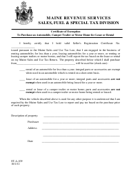 """Form ST-A-109 """"Certificate of Exemption to Purchase an Automobile, Camper Trailer or Motor Home for Lease or Rental"""" - Maine"""