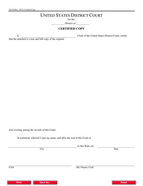 Form AO30 Printable Pdf