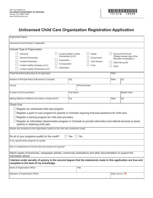 Form DR1318  Printable Pdf