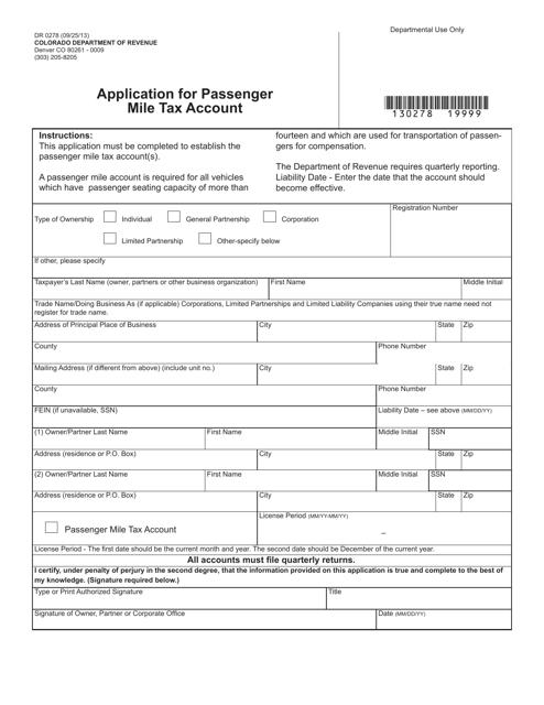 Form DR0278  Printable Pdf