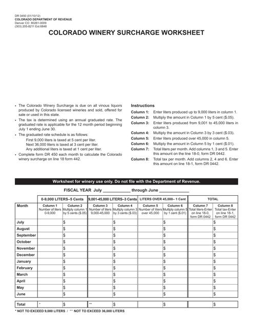 Form DR0450  Printable Pdf