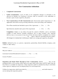 """Louisiana Residential Agreement to Buy or Sell - New Construction Addendum"" - Louisiana"