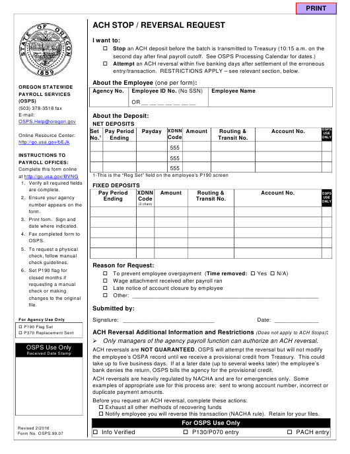Form OSPS.99.07  Printable Pdf