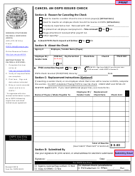 """Form OSPS.99.23 """"Cancel an Osps Issued Check"""" - Oregon"""