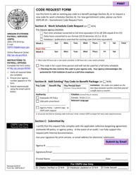 "Form OSPS.99.27 ""Code Request Form"" - Oregon"