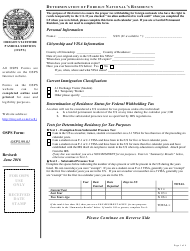"""Form OSPS.99.01 """"Determination of Foreign National's Residency"""" - Oregon"""