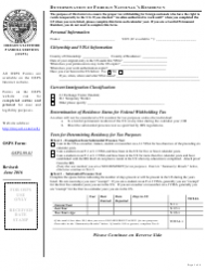 Form OSPS.99.01 Determination of Foreign National's Residency - Oregon