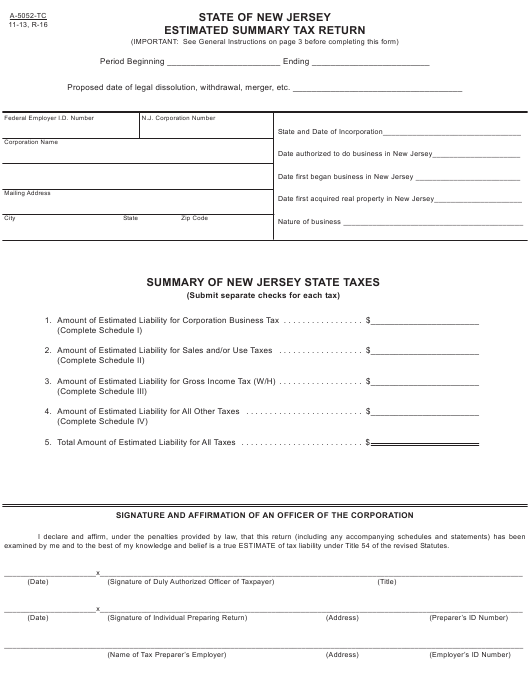 Form A-5052-TC Printable Pdf