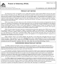 """PBGC Form 715 """"Power of Attorney (Poa) - Pension Benefit Guaranty Corporation"""""""