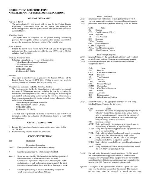 FERC Form 561  Fillable Pdf
