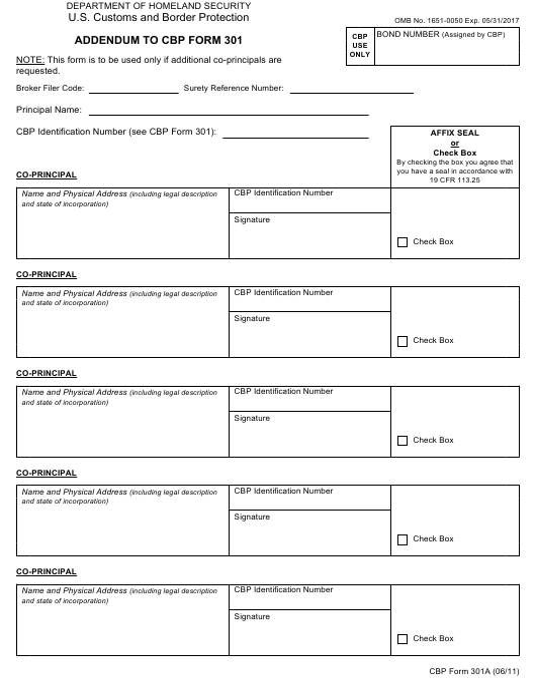 CBP Form 301A  Printable Pdf