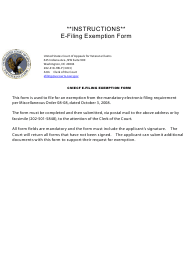 Form E-2 Cm/Ecf E-Filing Exemption Form