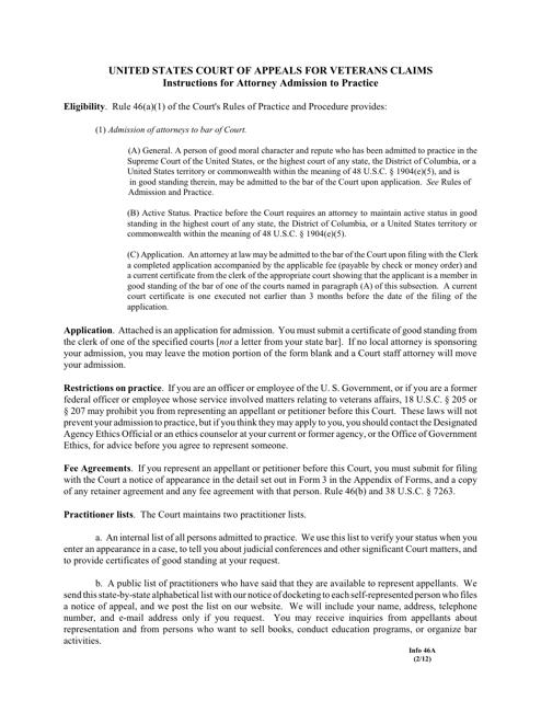 Form 46A  Printable Pdf
