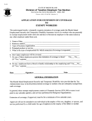 "Form TX-10 ""Application for Extension of Coverage to Exempt Workers (Religious Organizations Only)"" - Rhode Island"