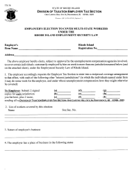 "Form TX-36 ""Employer's Election to Cover Multi-State Workers"" - Rhode Island"
