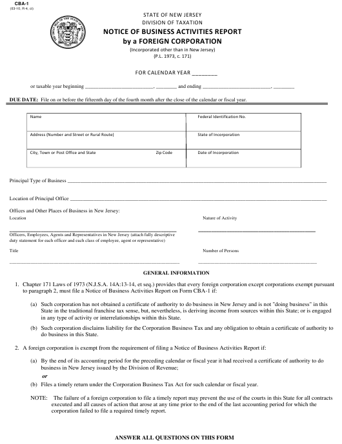 Form CBA-1  Printable Pdf