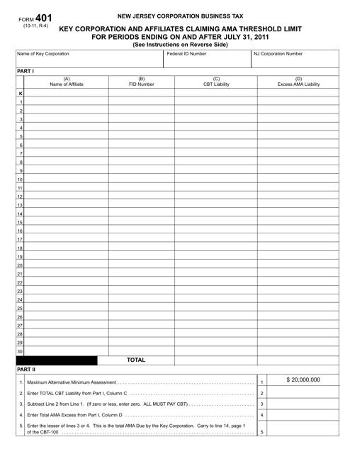 Form 401  Printable Pdf