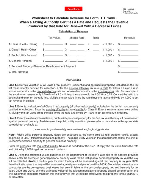 Form Dte 140r W4 Download Fillable Pdf 140r Worksheet For