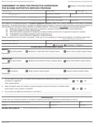 Form SOC 821 Assessment Of Need For Protective Supervision For In-home Supportive Services Program - California