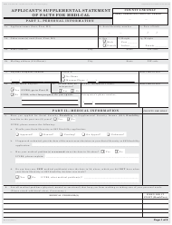 Form MC 223 Applicant's Supplemental Statement of Facts for Medical - California