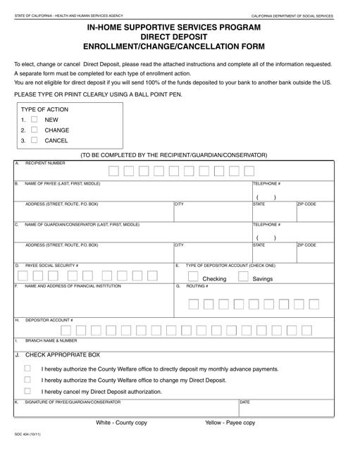 Form SOC404  Printable Pdf