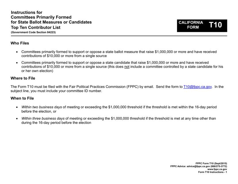 FPPC Form T10  Printable Pdf