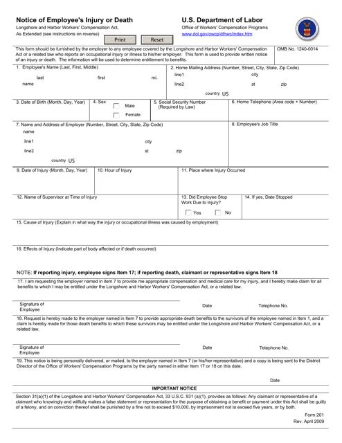 Form 201 Printable Pdf
