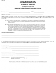 Form SU 07-58 Sales and Use Tax - Manufacturer's Exemption Certificate - Rhode Island