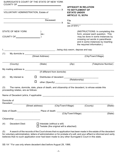 Form SE-1A  Printable Pdf