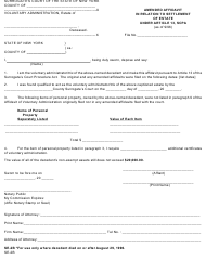"Form SE-2B ""Amended Affidavit in Relation to Settlement of Estate Under Article 13, Scpa"" - New York"