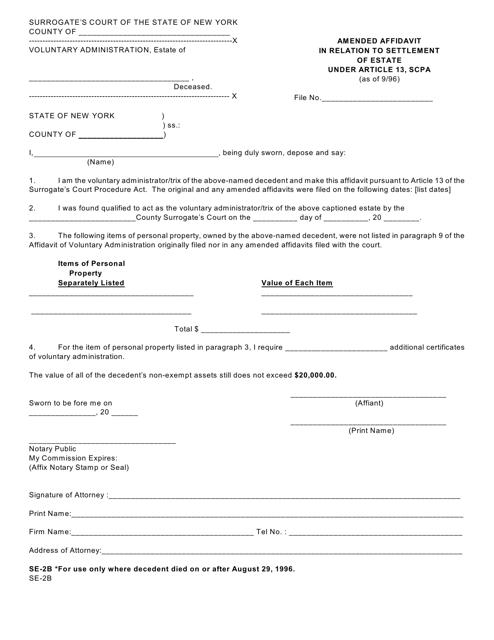 Form SE-2B  Printable Pdf
