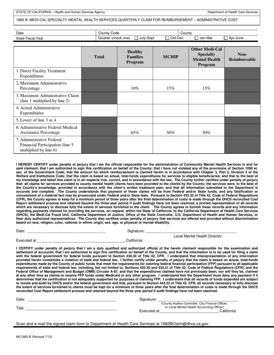 Form MC1982 B Download Fillable PDF or Fill Online Medi ...