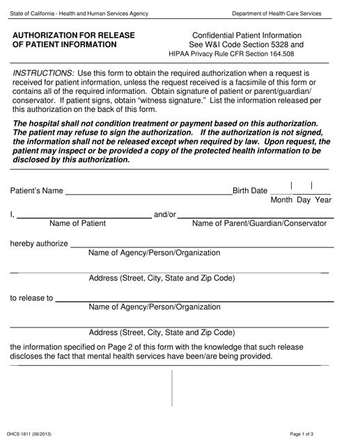 Form DHCS 1811 Printable Pdf
