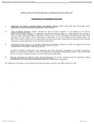 "Form DHCS1739 ""Mental Health Professional Licensing Waiver Request"" - California, Page 2"