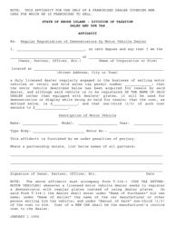 """""""Affidavit - Regular Registration of Demonstrators by Motor Vehicle Dealer"""" - Rhode Island"""