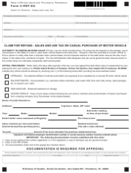 Form C-REF-SU Claim for Refund - Sales and Use Tax on Casual Purchase of Motor Vehicle - Rhode Island