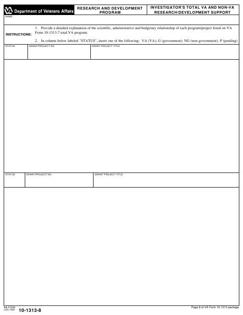 VA Form 10-1313-8 Printable Pdf